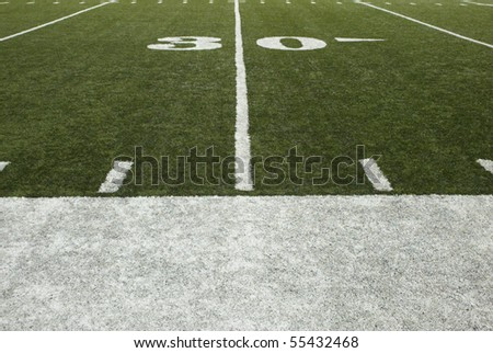 30-yard-line of a football field - stock photo