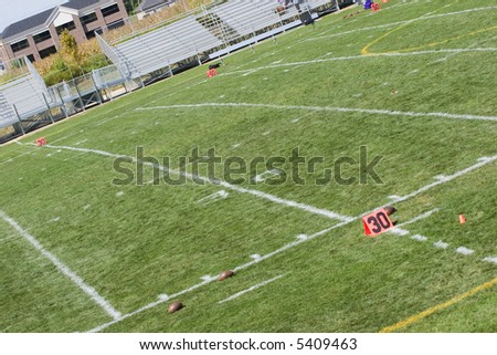 30 yard line of the football field