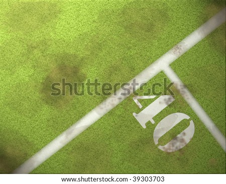 40 yard line on a football field - stock photo