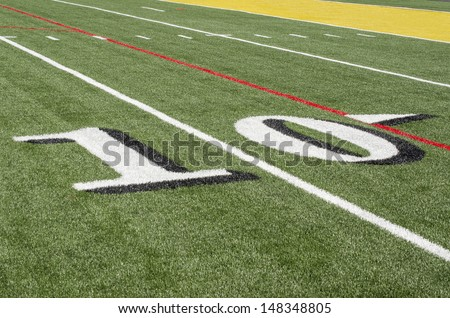 10 yard line on American Football field - stock photo