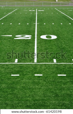 20 Yard Line on American Football Field - stock photo