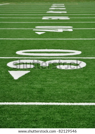 30, 40, & 50 Yard Line on American Football Field