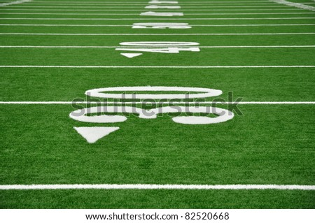 30, 40, & 50 Yard Line on American Football Field - stock photo