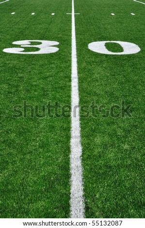 30 Yard Line on American Football Field and Hash Marks - stock photo
