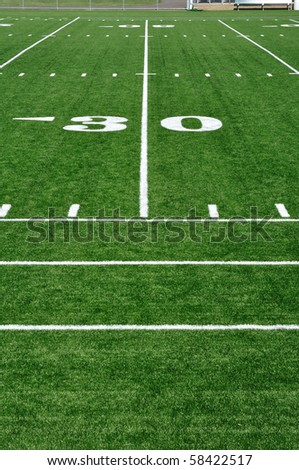 30 Yard Line on American Football Field and Sideline - stock photo