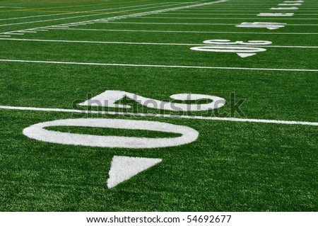 20 Yard Line on American Football Field, Copy Space