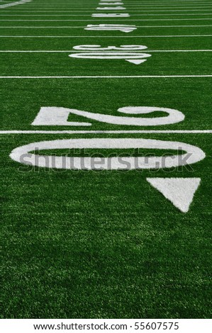 20 Yard Line on American Football Field, Copy Space, vertical - stock photo