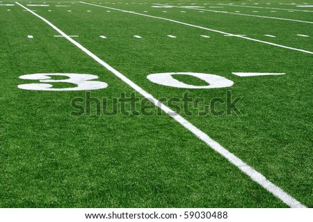 30 Yard Line on American Football Field with Hash Marks - stock photo