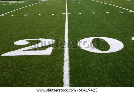 20 Yard Line on an American Football Field - stock photo
