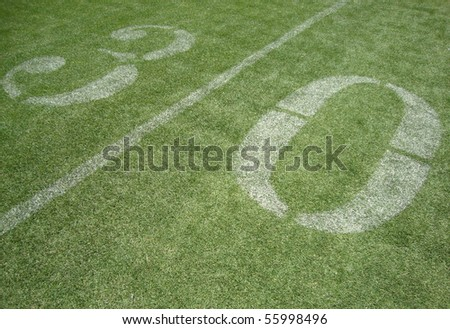 30 yard line on fake grass at the San Francisco 49ers field Candlestick - stock photo