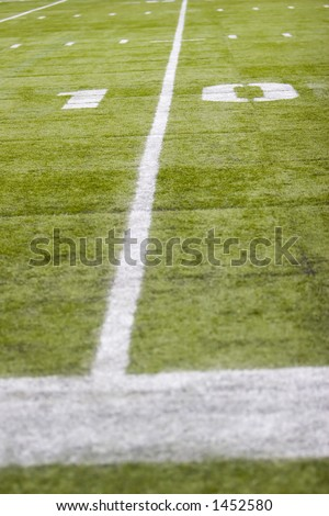 10 yard line on football field - stock photo