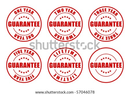 1,2,3,5 year and Lifetime Guarantee Stamps collection - stock photo