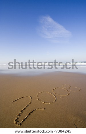 2008 year at the beach - stock photo
