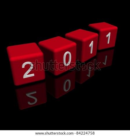 2011 year black background - stock photo