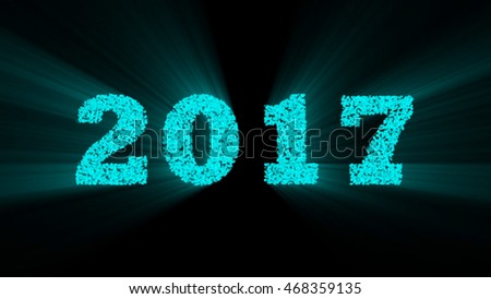 2017 Year blue color. 2017 year with shine on black background.