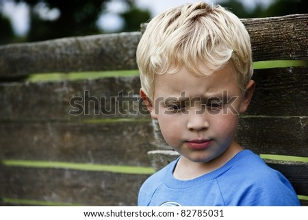 5 year boy thinking - stock photo