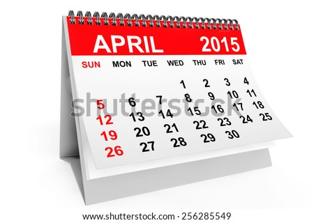 2015 year calendar. April calendar on a white background