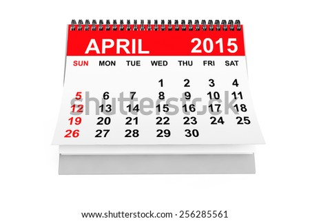 2015 year calendar. April calendar on a white background  - stock photo