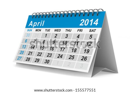 2014 year calendar. April. Isolated 3D image - stock photo