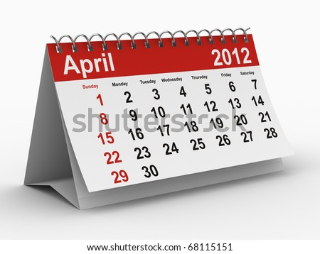 2012 year calendar. April. Isolated 3D image - stock photo