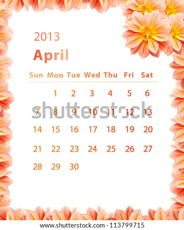 2013 year calendar ,April with Pink Flower frame design