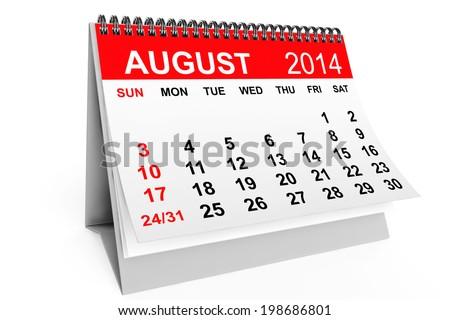 2014 year calendar. August calendar on a white background - stock photo