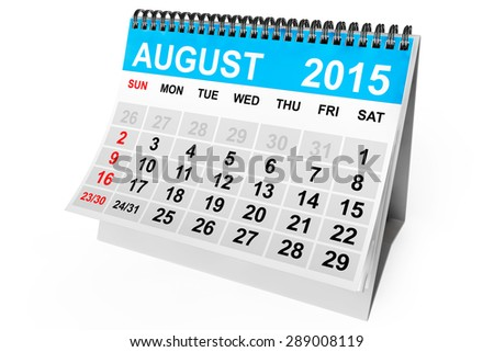 2015 year calendar. August calendar on a white background  - stock photo