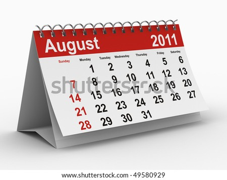 2011 year calendar. August. Isolated 3D image