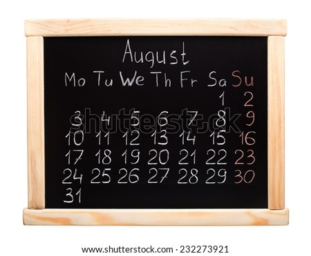 2015 year calendar. August. Week start on monday
