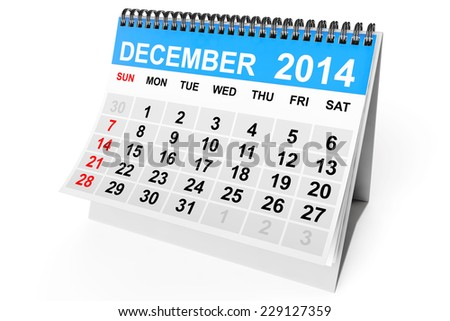 2014 year calendar. December calendar on a white background  - stock photo