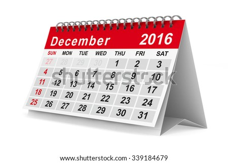 2016 year calendar. December. Isolated 3D image - stock photo