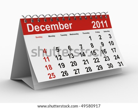 2011 year calendar. December. Isolated 3D image