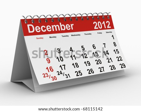 2012 year calendar. December. Isolated 3D image