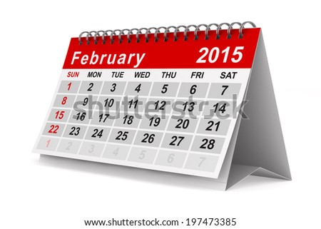 2015 year calendar. February. Isolated 3D image - stock photo