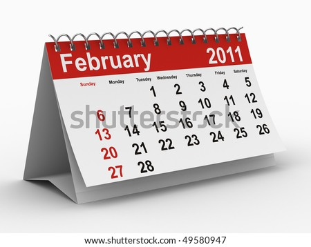 2011 year calendar. February. Isolated 3D image