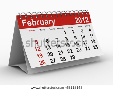 2012 year calendar. February. Isolated 3D image - stock photo