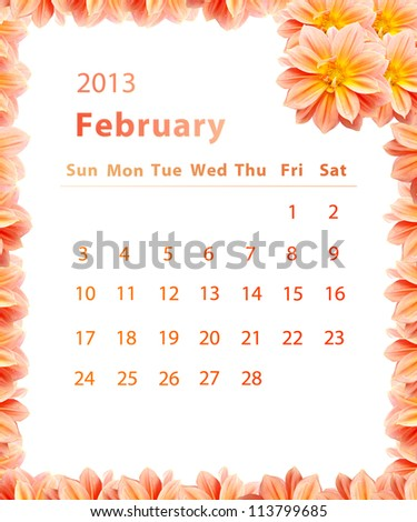 2013 year calendar ,February with Pink Flower frame design
