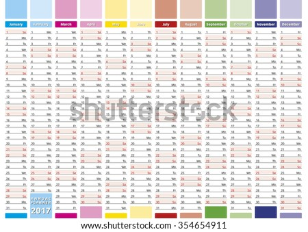 2017 Year calendar in english. Elegant annual planner for year 2017. - stock photo