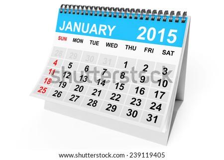 2015 year calendar. January calendar on a white background  - stock photo
