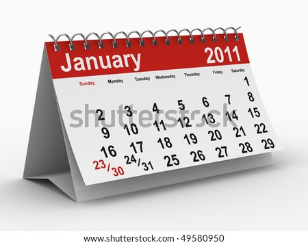 2011 year calendar. January. Isolated 3D image