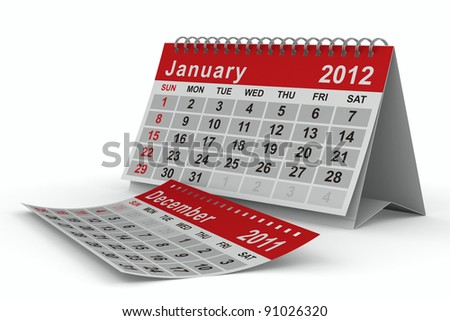 2012 year calendar. January. Isolated 3D image - stock photo