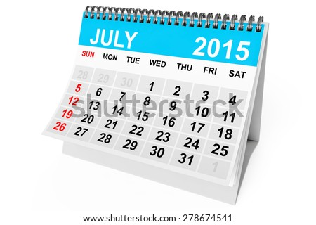 2015 year calendar. July calendar on a white background