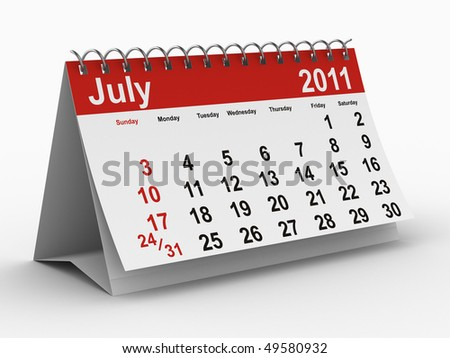 2011 year calendar. July. Isolated 3D image