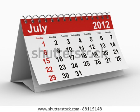 2012 year calendar. July. Isolated 3D image - stock photo