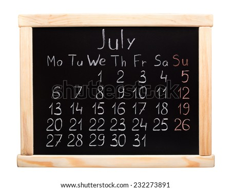 2015 year calendar. July. Week start on monday