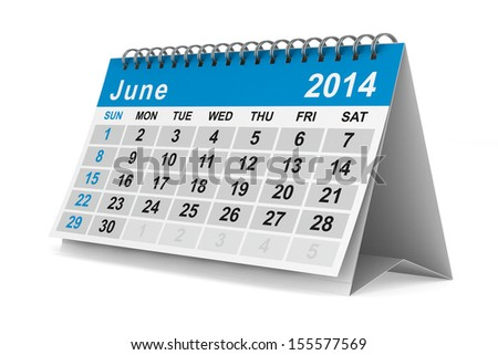 2014 year calendar. June. Isolated 3D image - stock photo