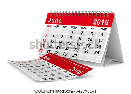 2016 year calendar. June. Isolated 3D image - stock photo
