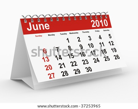 2010 year calendar. June. Isolated 3D image