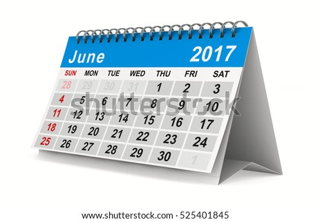 2017 year calendar. June. Isolated 3D image