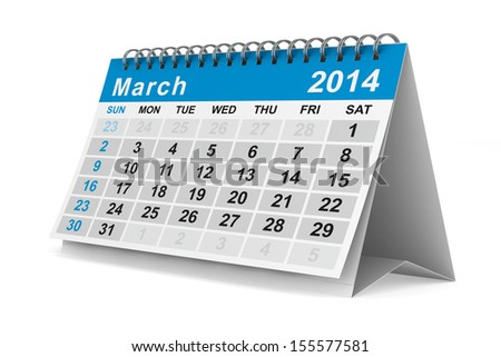 2014 year calendar. March. Isolated 3D image - stock photo